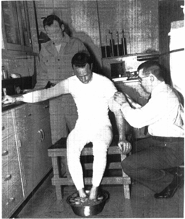 Cold Pressor Test photo credit Project Mercury Candidate Evaluation Program Charles L. Wilson ed. Aerospace Medical Laboratory Arlington Hall Centre Virginia. 1959