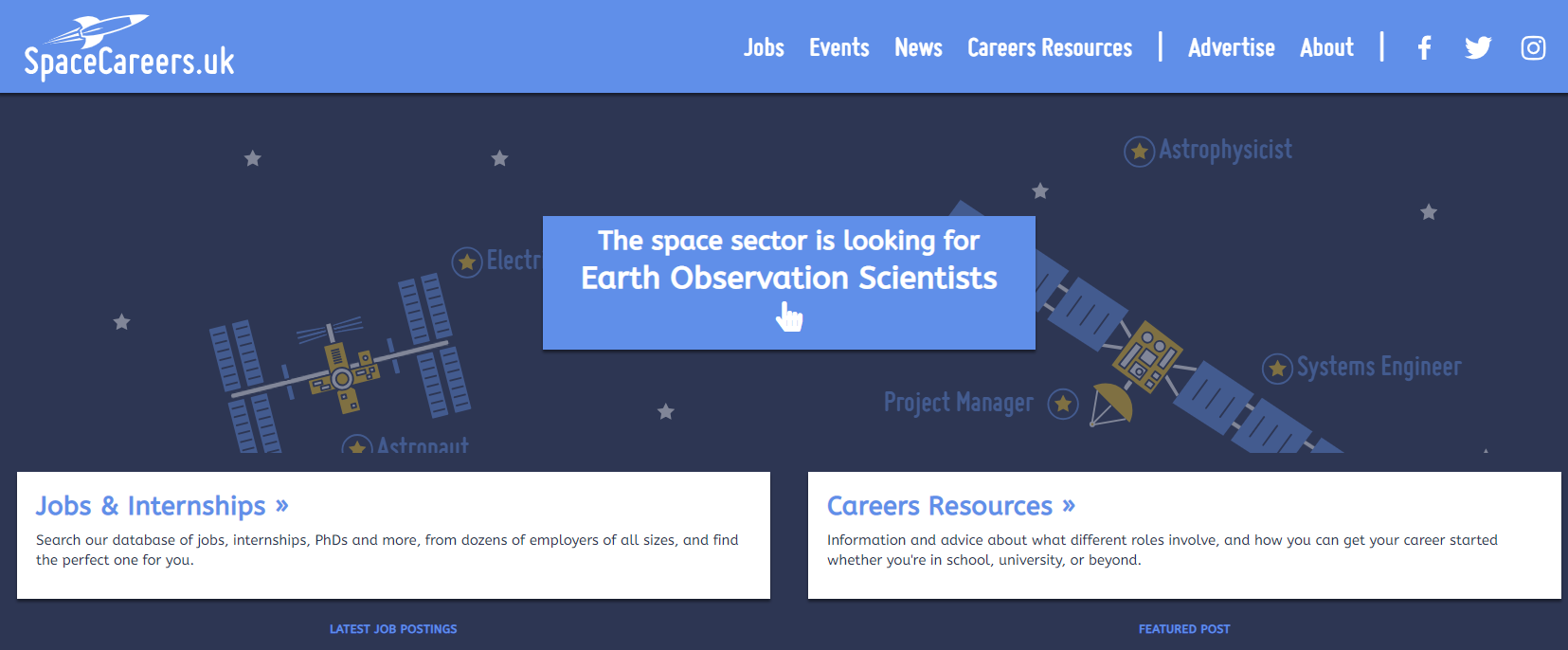 Screenshot from Space Careers UK
